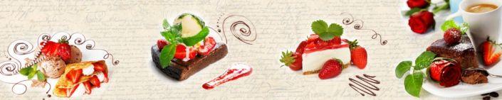 фартук для кухни пирожные и дисерты с клубникой