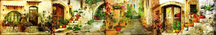 скинали для кухни фрески улочки домики цветы в горшках