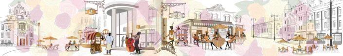 фартук для кухни уличное кафе в жёлто-розовых тонах