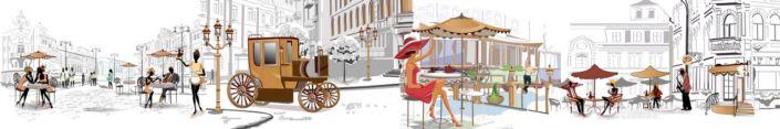 фартук для кухни уличные кафе с зонтиками