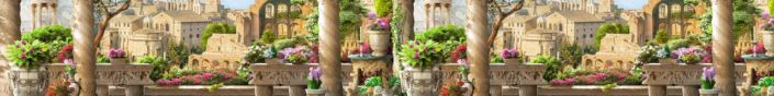 фартук для кухни фрески вид на город с веранды