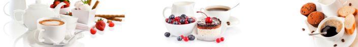 Скинали для кухни кофе и десерты с ягодами