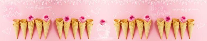 фартук для кухни вафельные рожки в розовом