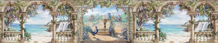 фартук для кухни фрески вид с веранды фантан павлины