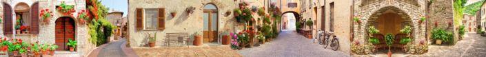 скинали для кухни фрески курортные улочки Италии цветы в горшках