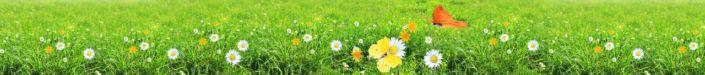 фартук для кухни полянка травы и ромашек