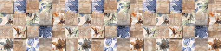 фартук для кухни коричневый с синеми цветами в плитке