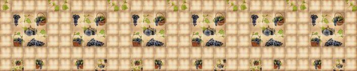 фартук для кухни бежевый с декором виноград