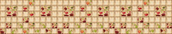 фартук для кухни плитка бежевая с элементами ягод
