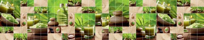 фартук для кухни коричнево-зелёный под плитку камни свечи соль растения