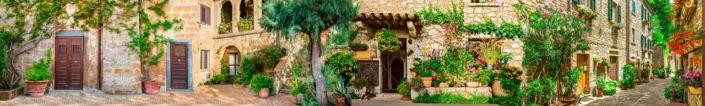 скинали для кухни фрески цветущие улочки каменых домов
