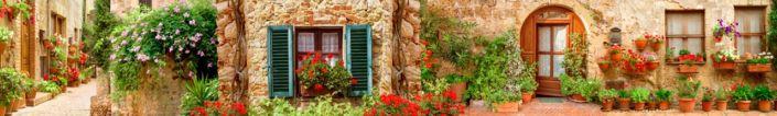 скинали для кухни фрески цветущие стены домов улочки
