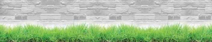 фартук для кухни трава и серая клинкерная стена