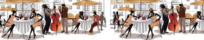 фартук для кухни цветное фон уличное кафе с людьми
