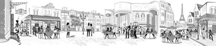 фартук для кухни Парижские улочки кафе в серо-белых тонах