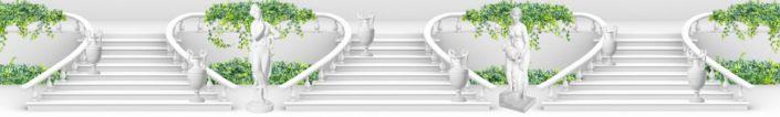 фартук для кухни белая лестница белая статуя