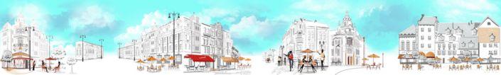 фартук для кухни угловые улочки кафе с голубым небом