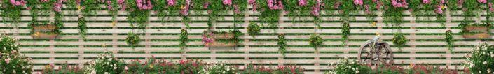 фартук для кухни забор с вьющимися розовыми цветами