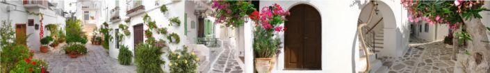 скинали для кухни фрески улочки с белыми домиками и цветами
